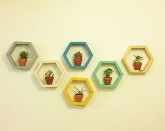 Honeycomb shelves, Hexagonal shelf, geometrical shelves,  floating shelves, set of 6, wood decorations,  rustic shelves, hexagon shelf