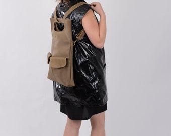 Backpack, Taupe Leather Backpack, Women Handbag, Laptop Bag, Transformer, Leather Backpack, Messenger Bag, Back to School, Trending Bag