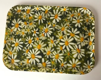 1960s Vintage Fiberglass Serving Tray. Large Sturdy Rectangular Tray with Rounded Corners and Stylized Daisy Illustration.