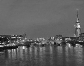 The Shard, Cityscape Of London Including The Shard. Black & White Photography Picture, B And W Prints Framed / Unframed