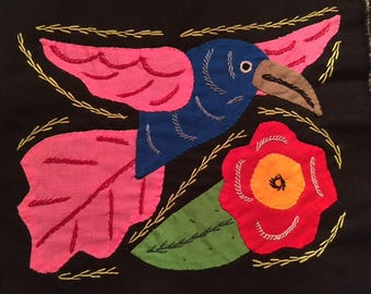 Mola Textile; Hummingbird with Pink Wings and Hibiscus Flower