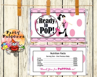 Printable Ready to Pop Baby shower Popcorn wrapper