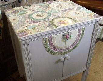SOLD!!! Mosaic table/cabinet in vintage china and stained glass