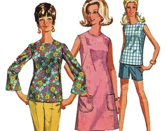 Housedress Pattern Bell Sleeve Blouse Pattern Overblouse Dress Sleeveless Top Pants Shorts 1960s Sewing Pattern Simplicity 7599 Bust 42
