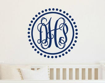 Monogram Wall Decal Monogram Polka Dot Border Girl Boy Bedroom Wall Decal Nursery Wall Decal Kids Wall Vinyl Monogram Vinyl Wall Monogram