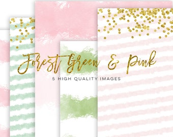 forest green and pink watercolor paper, gold pink watercolor paper, Watercolor Digital Scrapbooking Paper, scrapbook paper gold pink texture