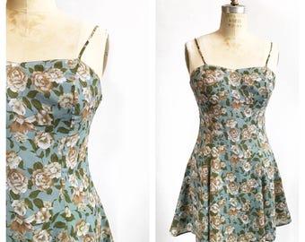 1990's floral tank dress. Size S.