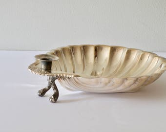 Sheridan Silverplated Shrimp Bowl Shell Plate, Footed Serving bowl, Vintage Wedding Decor Card holder, Beach Wedding Prop, Free Shipping
