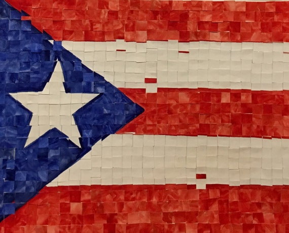 "Puerto Rican Flag -original watercolor painting- 11""x14"""