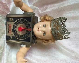 Queen TwiLite - repurposed assemblage art doll vintage photo timer