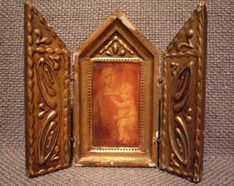 Vintage Italian Florentine Religious Madonna Child Folding Triptych Icon