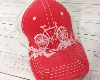 Bicycle Trucker Hat - Bicycle Print - Hand Printed Ball Cap