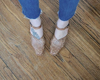 90s Pikolinos Ankle Strap Sandals// Brown Leather Sandals// Spanish Design// Size 38// Vintage Sandals// Vintage Footwear