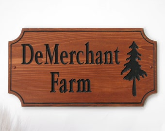Stained Carved Wood Outdoor Sign Custom Carved Wood Sign with Evergreen Tree