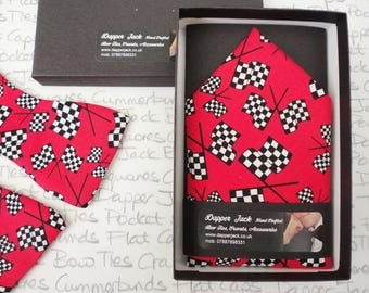 Pocket square, Chequered flags on a red background, Pocket handkerchief