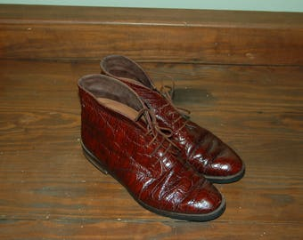 """Women Size 5 1/2 Vintage Vero Cuoio """"Fia'le Collection"""" Brown Leather Ankle Boots/Booties"""