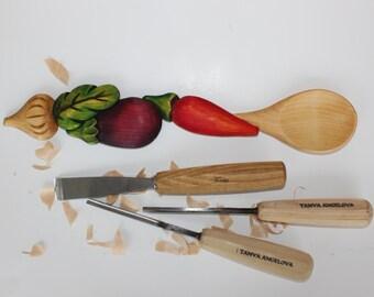 Hand carved spoon, garlic pepper eggplant, vegetables, linden wood, hand made