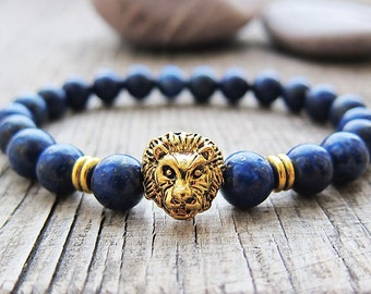 Lion head bracelet Men bracelet Lapis lazuli bracelet Fathers day gifts for dad Beaded bracelet Protection bracelet Stretch bracelet for men