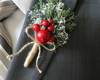 Christmas  Boutonniere Groom Boutonniere Groomsman Boutonniere Red Berry Boutonniere Mens Wedding Boutonniere  Weddings  Boutonnieres