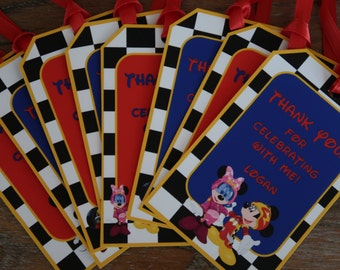 Mickey Roadster Racers Themed Party *** CUSTOMIZABLE *** Favor Tags - Gift Tags - Thank You Tags - Sold in Lots of 8