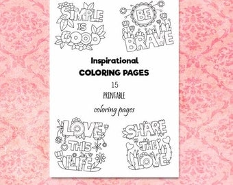 Set of Inspirational Coloring Pages; Coloring Book; Relaxation; Printable