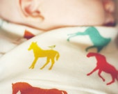 Horse Swaddle Blanket, Baby Gauze Blanket, Organic Baby Shower Gift, Horse Theme Nursey, Light Weight Swaddling Blanket, Newborn Essentials
