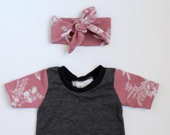 Handmade Floral harem romper with head bow (sizes newborn-5t childrens)