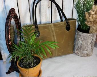 Waxed Canvas Handbag Purse Satchel Diaper Bag Shown in Sage