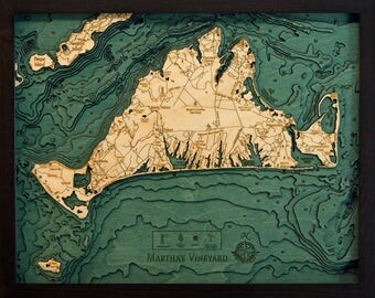 Martha's Vineyard, Massachusetts Wood Carved Topographic Depth Map