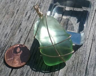 Foam Green beach Glass Medium/Large Pendant wrapped in Gold Filled
