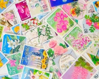 Flower postage stamps (20 pcs)