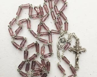 8mm x 4mm purple glass tube rosary with Sacred Heart / Madonna and Child center