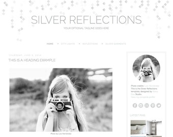 Premade Blogger template. Silver Reflections. Responsive blogger theme. Premade blog design for Blogger. Clean simple, minimal. White, grey