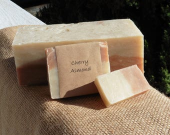 Cherry Almond Handmade soap bar, Vegan soap, Fresh Handmade soap