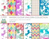 "SALE Watercolour Unicorn 12""x12"" Digital Papers"