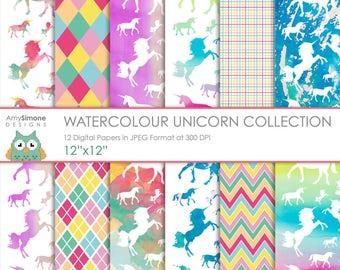 "Watercolour Unicorn 12""x12"" Digital Papers"