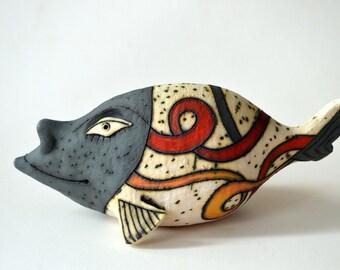 fish - gray fish - ceramic fish - ceramic sculpture  - art - ceramic art