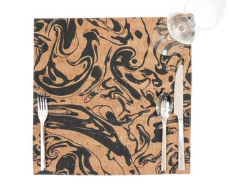 Marbled Cork Placemat, Square Tabletop Placemat, Black and Tan Dining Room Decor, Unique Housewarming Gift, Handmade Eco Friendly Place Mat