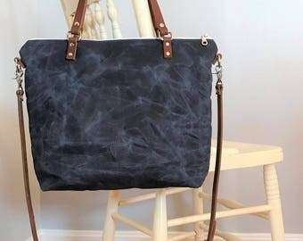Waxed Canvas Handbag, Waxed Canvas Tote, Waxed Canvas Bag, Crossbody Bag, Handbag, Waxed Canvas Purse, Shoulder Bag,