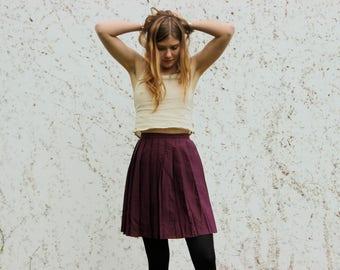 VTG Purple Mini Skirt Small S | Womens High Waist 1970s Tennis Skirt Hippie Gogo 1960s Boho