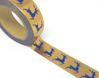 Copper Tape with Navy Reindeer Foil Washi Tape 15mm x 10m