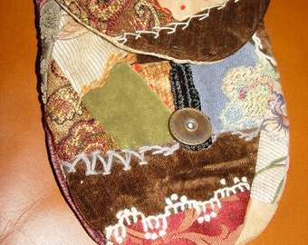 Early Victorian-era inspired vintage embroidered crazy quilt patchwork velvet hand bag ~ Trade Route?