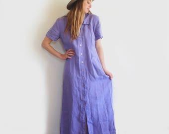 vintage lilac linen maxi dress