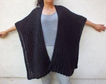 Blanket Scarf, Ruana, Blanket poncho, Kimono, Crochet Ruana, Wool Ruana,Oversized wrap, Boho Cardigan
