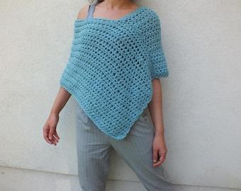 Poncho, short wool poncho, women poncho,blue poncho, coverup