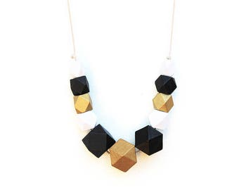 Gold Geo - Wooden Beaded Necklace