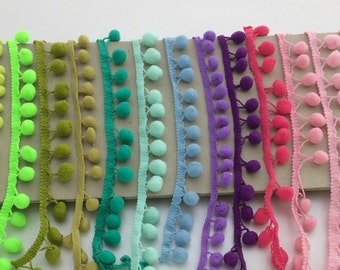 Pom Pom Trim, Felt Ball garland, Bobble Trim, Fringe,