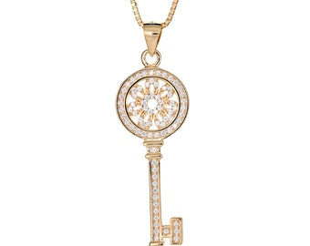 14K Gold Plated on .925 Sterling Silver Dainty Flower Key Micro Pave Pendant with Chain (6 grams)
