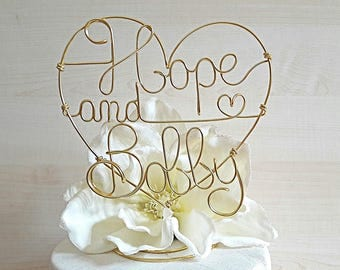 Personalized Wedding cake topper, heart with names, anniversary cake topper, custom wire cake topper