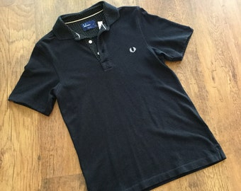 Vintage Fred Perry navy dot slim fit polo shirt, men's wear, designer vintage, sporty polo shirt, summer men's clothing, polo top, navy top